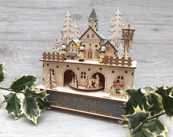 Personalised winter wonderland led music box - wooden engraved christmas decoration