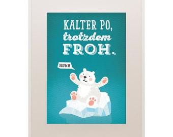 """Poster Polar Bear, 11""""x16"""", Art Print, Animal Art Print, Illustration, Vector Art, Children's Room"""