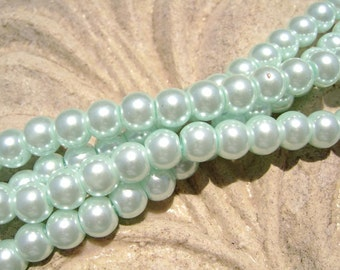 Pearlescent Glass Pearl Pearls Beads Baby Blue 8mm Round LARGE 30mm Strand