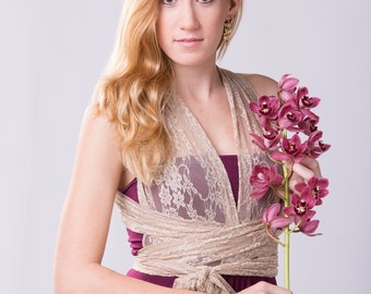 Vintage lace dress, romantic event long dress, feminine eggplant beige lace dress, custom dress made to measure, mismatch dress, party dress