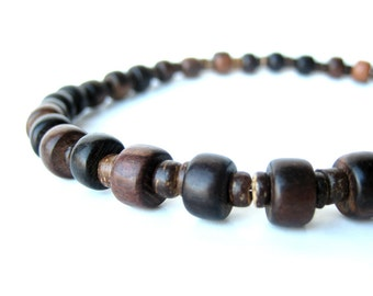 """Men's Jewelry - Wood bead men's necklace handmade from mabolo wood and coconut shell. """"Wooden Stutter"""""""