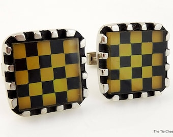 Vintage Checkerboard Cufflinks Silver Tone Large Checkers Game
