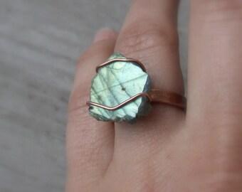 Raw labradorite natural ring, minimal real healing stone adjustable ring, birthstone rustic jewelry