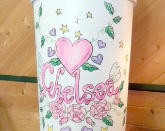 Hamper - Tattoo Rose Design - Handpainted and Personalized