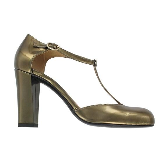 leather strap strap t Women Justine shoes Italy Gold Gold leather Gold shoes heel shoes leather pumps heels T pumps RznqSgxS