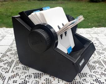 Vintage Rolodex 225 4D/Desktop Reference/Industrial Office/Black Metal Rolodex/Made in USA/Desktop File/Alphabetical Desk File/4 x 2.5 Cards