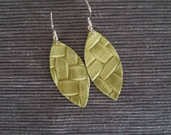 Small Lime Green Woven Earrings