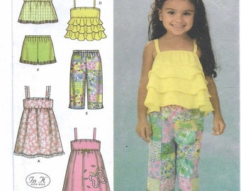 An Empire Waist Sundress and Top, Elastic Waist Shorts and Cropped Pants Pattern for Toddlers: Uncut - Sizes 1/2-1-2-3-4 ~ Simplicity 4610