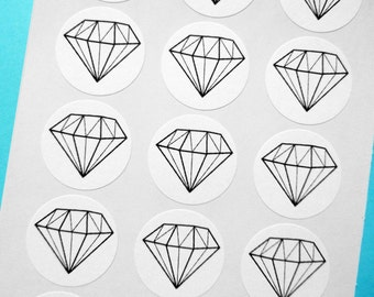 "Diamond Sticker/Seal Wedding Favor-  1"" One Inch Round Sticker Envelope Seals - B&W, Sheets of 15 - by Blossom Arts"