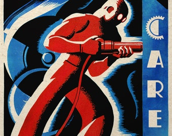 Steampunk Art Print Industrial Safety Work With Care Wall Decor Dieselpunk Propaganda