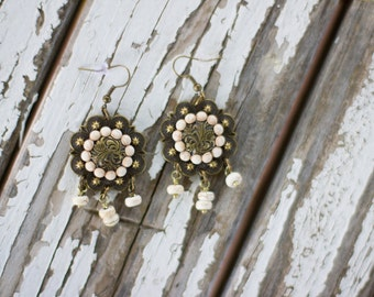 Bronze Concho Earrings with Cabochons