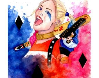Harley Quinn Watercolour Painting Print