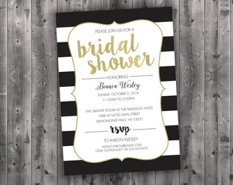 Black and White Bridal Shower Invitations, Bridal Shower Invitation, Bridal Shower Invite, Bridal Shower, Bridal Invitation, Wedding Shower