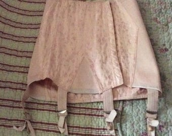Vintage French Peach Pink Open Bottom Boned Girdle With Four Garters 1950s 1960s