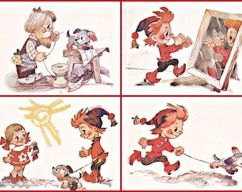 Fairy Tale Adventures of Petrushka.  Set of  16  Soviet Postcards.Artist Vladimirovskiy. Moscow, 1984