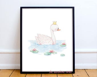 Swan print, girl nursery wall art, Baby girl room decor, Princess nursery print, Baby girl pink decor, Swan watercolor print