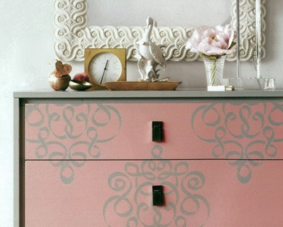 Furniture &Wall Stencil Small Ribbon Damask Stencil Featured in ...