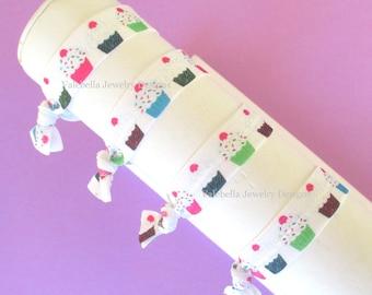 Haargummi Geburtstag Cupacke bunten Kuchen Nylon Dutt wickeln oder Armband Partei zugunsten rosa lila grün Mädchen Kinder zwischen Teen Geburtstag Zubehör