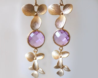 Dangling Orchid Earrings. Orchid Earrings. Lilac Chandeliers. Orchids Chandeliers. Orchid Dangles. Radiant Orchid Bridal, Bridesmaids Gifts.