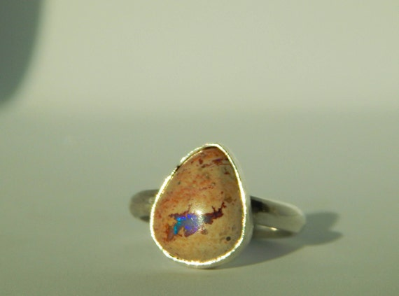 Mexican Fire Opal Stackable Ring, Sterling Silver, Opal, Size 9