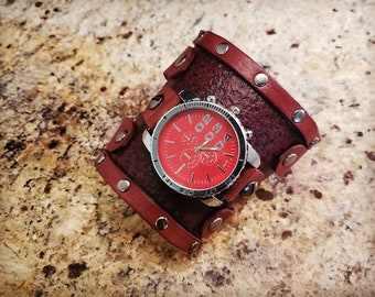 Cosplay Watch - Leather Gauntlet Watch - Steampunk Watch - Leather Cuff Watch - Handmade by American Made Upgrades