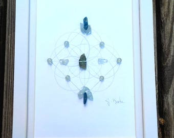 CALM, COOL and COLLECTED-Sacred Geometry Healing Grid- Kyanite, Apatite, Aquamarine, Aventurine- Colors of the Ocean