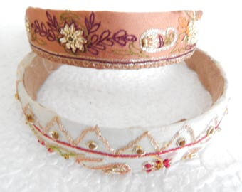 Cream and mauve embroidered headbands for women, 1.25 inch headbands