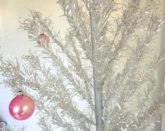 Vintage Aluminum Christmas Tree 6' Taper Tree with 61 Branches, Poles, Tripod Stand, Original Box