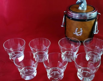 Glass Set of 7 Vintage  Monogram P Drink Glasses Clear Weighted Lowball Barware Set Etched Glass Retro Home Decor