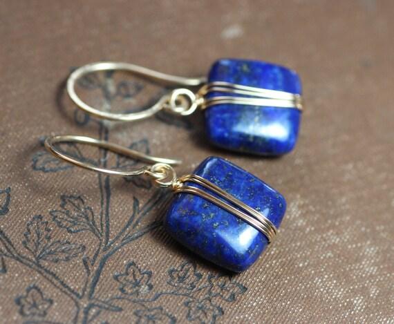 Lapis Golddraht umwickelt blauen Edelstein Ohrringe Gold und