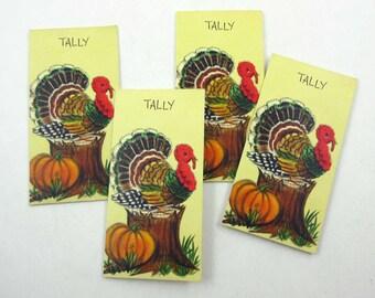 Vintage 1950s Thanksgiving Turkey Bridge Tallys or Tallies by Hallmark Set of 4