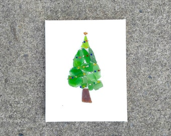 Christmas Tree canvas art, Beach glass, christmas decorations, home decor, finger lakes ny, holiday decor, gift for couples, hanging decor