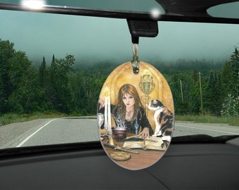 Sorceress and Cat, Magic is Afoot Car Charm / Ornament