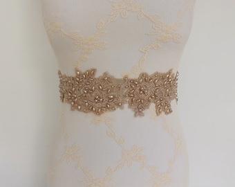 Champagne sash belt. Champagne floral lace and pearls. Taupe sash. Bridal sash