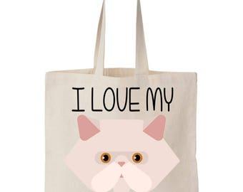 I Love My Persian Cat Canvas Tote Bag