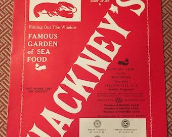 Hackney's Seafood Atlantic City Vintage Menu 1935
