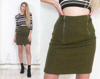 90s olive green zippers high waist pencil skirt m l