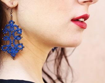 Blue beaded lace earrings/ tatted earrings/ beaded earrings/ lace jewelry/ lace earrings/ blue earrings