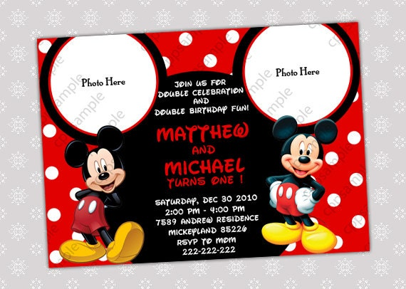 Items similar to Mickey Mouse Birthday Party Invitation Two or