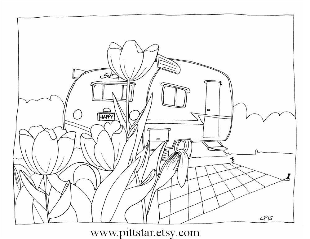 Instant Download Vintage Shasta in the Tulips Glamper Travel
