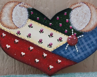 Patch Heart Interchangeable Hand Set  - Wood Home Decor