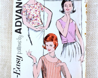 Vintage pattern Advance 2808 1960s Top blouse shell sewing Jackie Kennedy First Lady Bust 31 tank  top shirt blouse beatnik Uncut