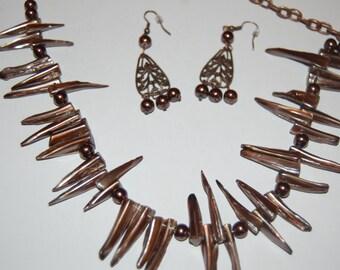 Brown Necklace and vintaj earrings