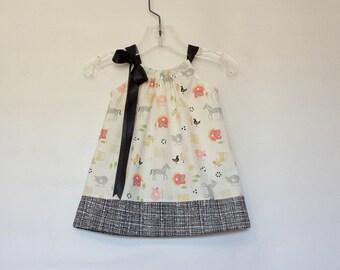 New! Baby Girls Farm Dress - Barnyard Animals Dress - Infant Dress with Bloomers - Farm Animals Sun Dress - Size Nb, 3m, 6m, 9m, 12m or 18m