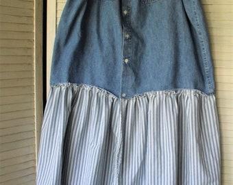 Denim Drawstring Skirt/ Upcycled Skirt/ Farmhouse Chic/ Plus Size Skirt/ Restyled Denim/ Denim Thrift/ Sheerfab Funwear