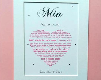 Daughter 21st gift, Daughter 21st Birthday, 21st Birthday gift for Daughter, Mother Daughter gift, Father Daughter gift,  Twenty First