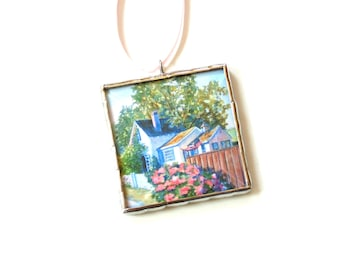 Miniature scene watercolor painting, art ornament, mini wall art, Summer cottage, lake house decor summer painting