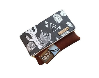 Cactus Succulent  Fold Over Clutch with Leather Bottom,