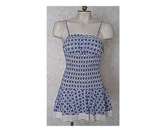 Vintage 1940s Bathing Suit / One Piece Cotton Skirt Swimsuit / Blue White Black Ruched Cottton Romper Playsuit 1950s