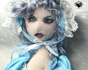 Girl in Blue Bonnet - A Gothic OOAK Art Doll
